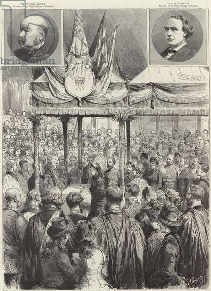 The Queen laying the foundation stone of the new medical examination hall on the Victoria Embankment (engraving)