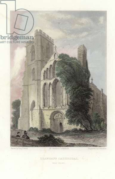 Llandaff Cathedral (coloured engraving)
