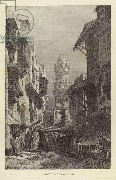 Egypt - Street in Cairo (engraving)