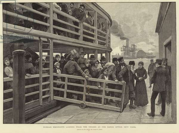 Russian emigrants landing from the tender at the barge office, New York (engraving)