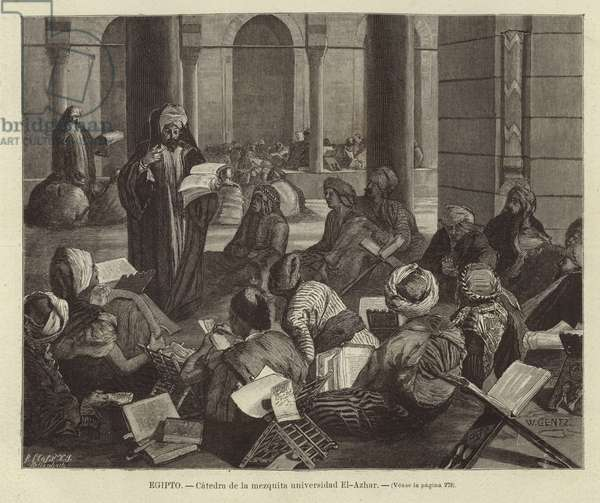 Egpyt - Chair of the mosque of Al-Azhar University (engraving)