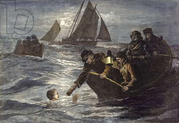 Captain Webb's attempt to swim across the English Channel, Hot Coffee by Moonlight (coloured engraving)