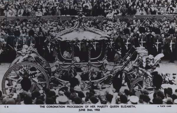 The coronation procession of her majesty Queen Elizabeth, 2 June 1953 (b/w photo)