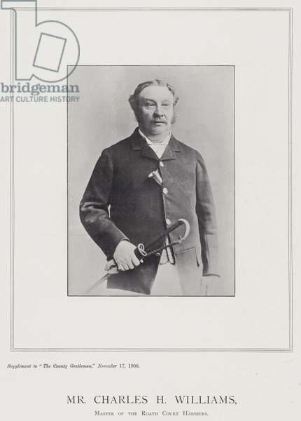 Mr Charles H Williams, Master of the Roath Court Harriers (b/w photo)