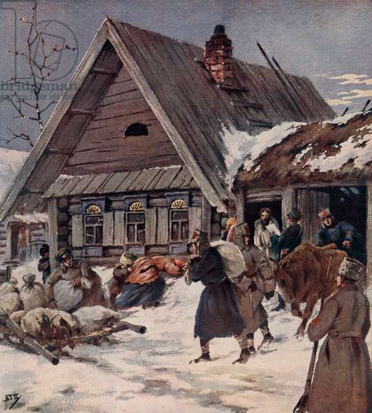 Red Army soldiers carrying out an armed requisition in a village, Russian Civil War, 1918 (colour litho)