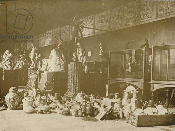 The Huns kept their hoard of artwork at Douai, November 1918 (b/w photo)