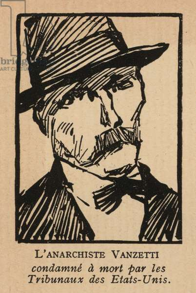 Bartolomeo Vanzetti, Italian-born American anarchist controversially executed for an armed robbery in Massachusetts, USA (litho)