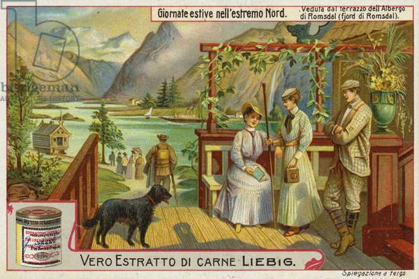 View from the terrace of an inn on Romsdalsfjord, Norway (chromolitho)