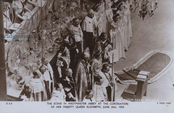The scene in Westminster Abbey at the coronation of her majesty Queen Elizabeth, 2 June 1953 (b/w photo)