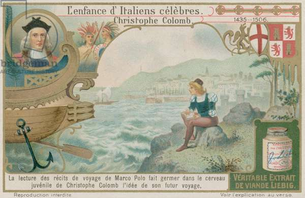 Christopher Columbus reads about Marco Polo's voyages (colour litho)