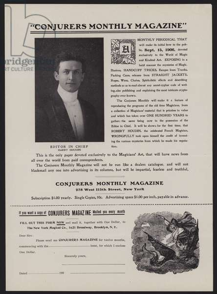 Subscription form for Conjurers Monthly Magazine, Editor In Chief Harry Houdini (litho)