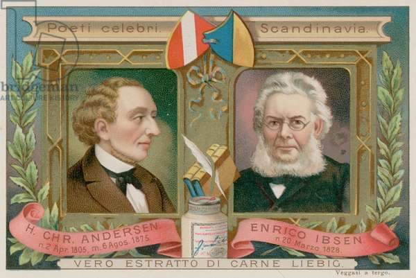 Hans Christian Anderson and Ibsen (chromolitho)