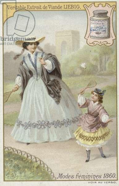 Liebig card featuring women's fashions (colour litho)