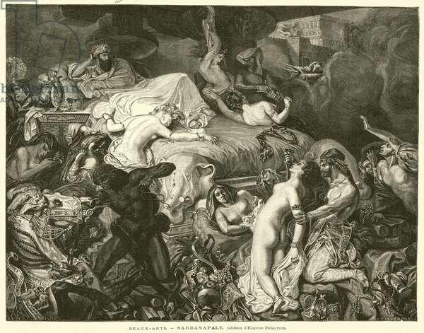 Beaux-Arts, Sardanapale, tableau d'Eugene Delacroix (engraving)