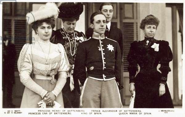 Princess Henry of Battenberg, Prince Alexander of Battenberg, Princess Ena of Battenberg, King of Spain, Queen Maria of Spain (b/w photo)
