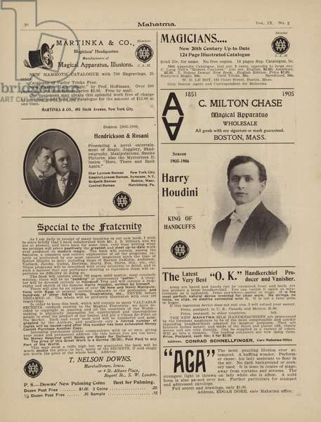 Advertisements for magicians, including Harry Houdini (litho)