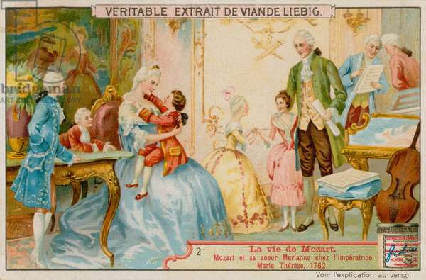 Mozart and his Sister Marianne with the Empress Maria Theresa (chromolitho)