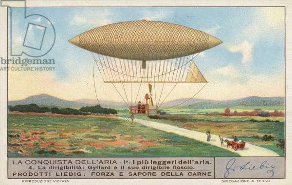 French aeronaut Henri Giffard's dirigible airship (chromolitho)