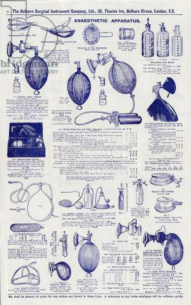 Page from Surgical instrument catalogue, c.1900: Anaesthetic apparatus (litho)