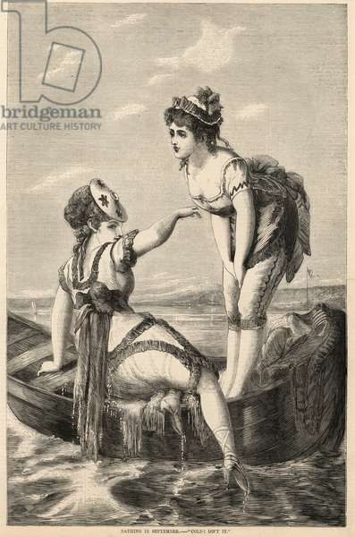 Bathing in September; Cold, isn't it (engraving)