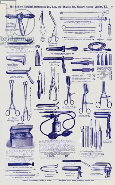 Page from Surgical instrument catalogue, c.1900 (litho)
