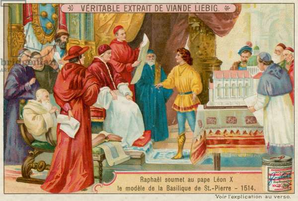 Raphael Submits a Design to Pope Leo X (chromolitho)