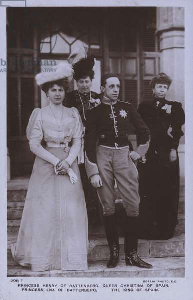 Alfonso XIII, King of Spain and his mother Queen Maria Christina of Spain with Princess Victoria Eugenie of Battenberg and her mother Princess Henry of Battenberg (b/w photo)