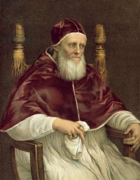 Portrait of Pope Julius II, Pitti Gallery, Florence (colour litho)