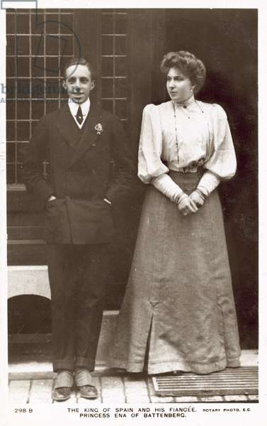 The King of Spain, Alfonso XIII, and his fiancee, Princess Ena of Battenberg (b/w photo)
