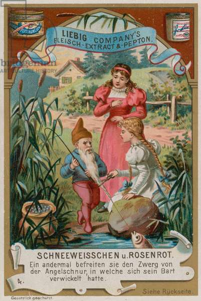 Snow White and Rose Red Help the Dwarf with his Fishing Line (chromolitho)