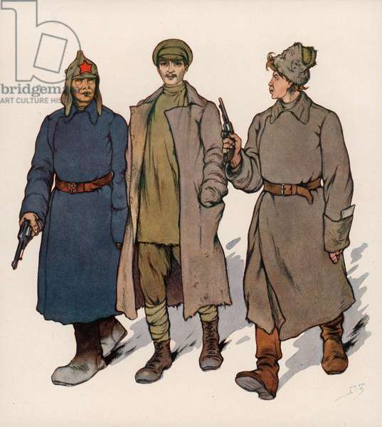 Detainee being led to a Soviet revolutionary tribunal (colour litho)