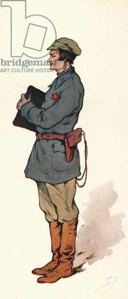 A Soviet commissar (colour litho)