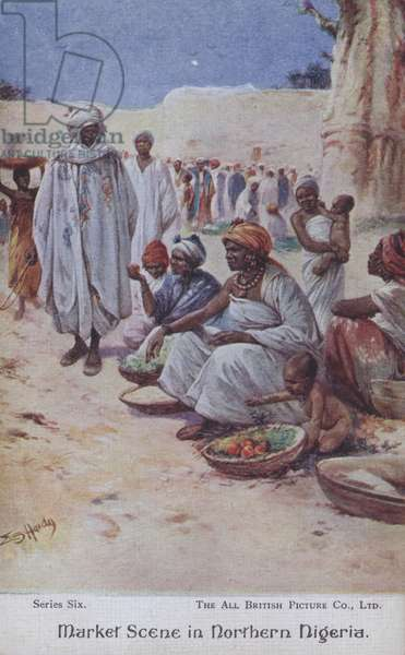 Market scene in Northern Algeria (colour litho)