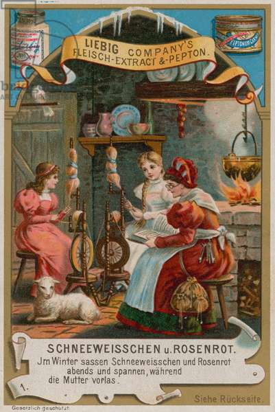 Snow White and Rose Red Spinning with Their Mother (chromolitho)