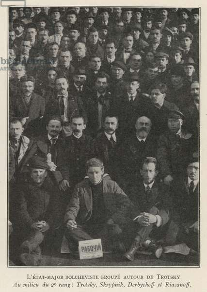 Leon Trotsky (second from left in the second row) and other Bolshevik leaders, Russian Revolution, 1917 (b/w photo)
