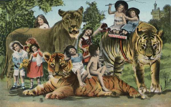 Surreal picture of children and animals (colour litho)