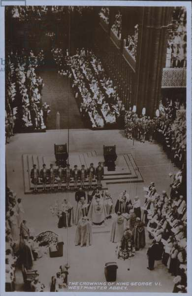 The crowning of King George VI, Westminster Abbey (b/w photo)