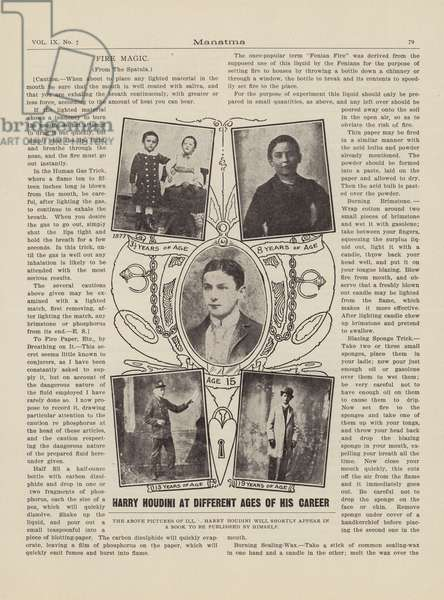 Harry Houdini at different ages of his career (litho)