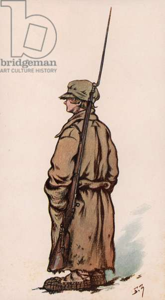 Young soldier of the Red Army, Russian Civil War (colour litho)