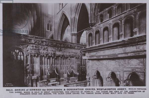 Shrine of Edward the confessor and coronation chairs, Westminster Abbey (b/w photo)