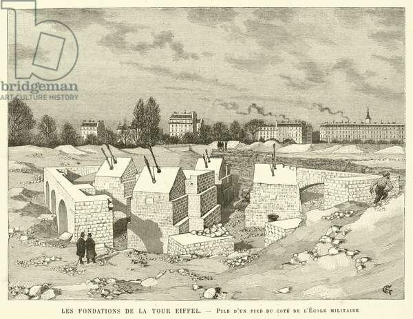 Les Fondations de la Tour Eiffel, Pile d'un pied du cote de l'Ecole militaire (engraving)