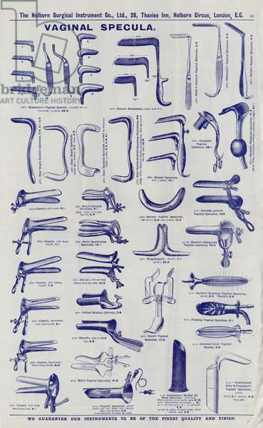 Page from Surgical instrument catalogue, c.1900: Vaginal specula (litho)