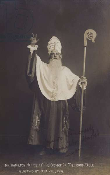 "Mr Hamilton Harris as ""The Bishop"" in The Round Table, Glastonbury Festival, 1919 (b/w photo)"