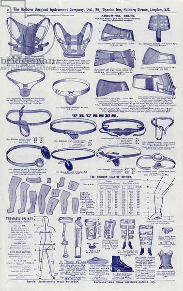 Page from Surgical instrument catalogue, c.1900: Abdominal belts and trusses (litho)