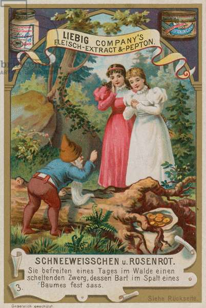 Snow White and Rose Red Help the Dwarf with his Beard (chromolitho)
