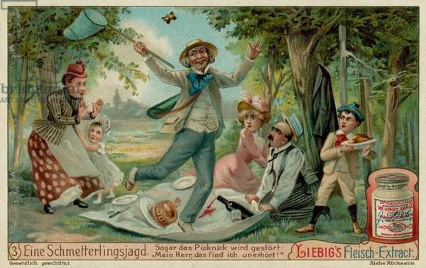 Butterfly Hunting and a Picnic (chromolitho)