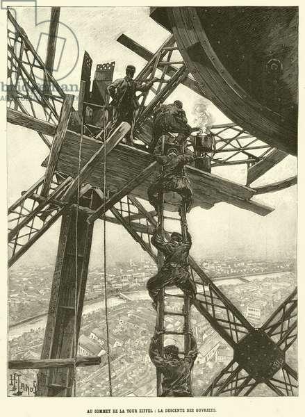Au Sommet de la Tour Eiffel, La Descente des Ouvriers (engraving)