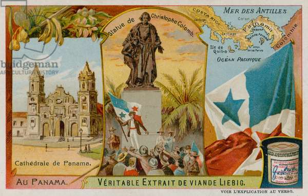Statue of Christopher Columbus, Antilles and Panama Cathedral (chromolitho)