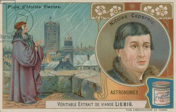 Nicolaus Copernicus and a fall of shooting stars (chromolitho)
