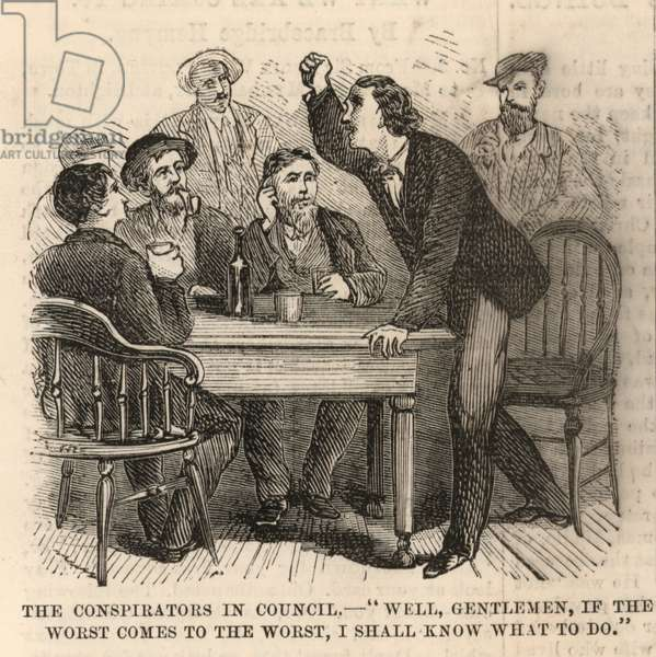 The Assassination of President Lincoln; The conspiritors in council (engraving)